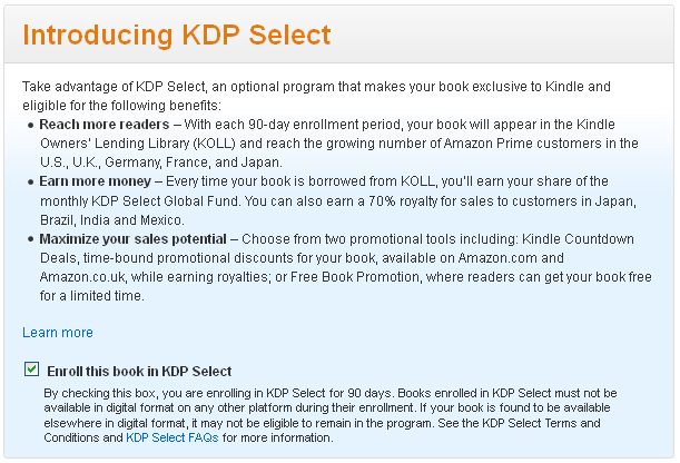 publising kindle ebook - step 2