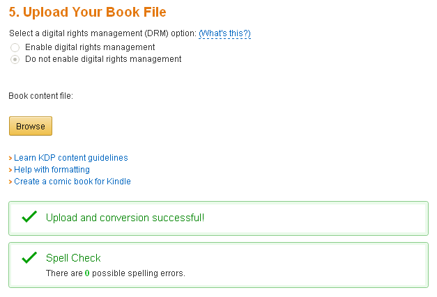 publising kindle ebook - step 8